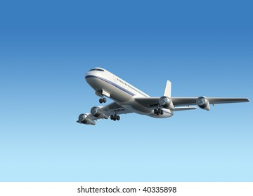 Airplane flying on blue sky - 3d render