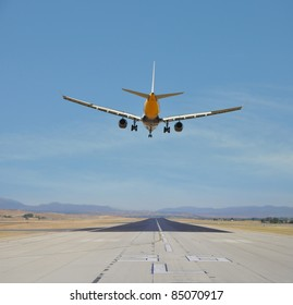 Airplane Flying over Airport Runway Blue Sky Sunny Day
