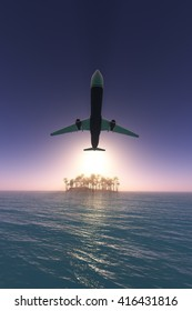 Airplane flying over amazing ocean landscape with tropical island 3d rendering