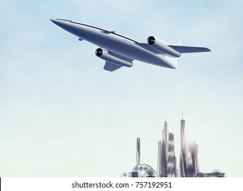Airplane flying over a modern city. Concept of supersonic jet aircraft. 3d rendering illustration