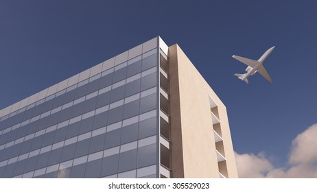 Airplane flying over office building