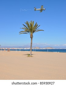 Airplane Flying over Palm Tree Writing Fun in the Sky on Mediterranean Beach, Costa Blanca Alicante Spain Europe Skyline and Santa Barbara Castle in the Background