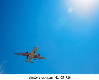 airplane flying, plane taking off in sunny day