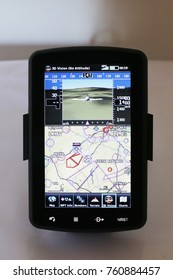 Airplane gps navigation map. Small navigation device for private pilot. GPS NAVIGATION