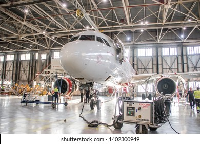 Airplane hangar. Airline Russia. Collect aircraft. Official spotting at Pulkovo Airport, St. Petersburg Russia November 28, 2018
