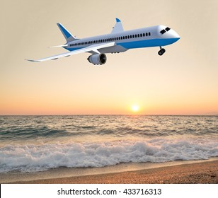 airplane , holidays background, beach sea sunset, 3d rendering