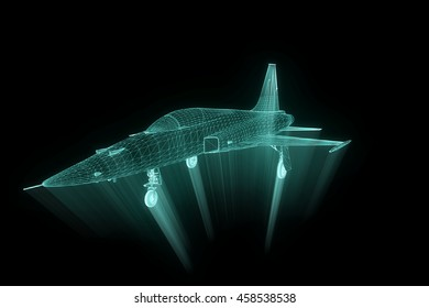 Airplane in Hologram Wireframe Style. Nice 3D Rendering