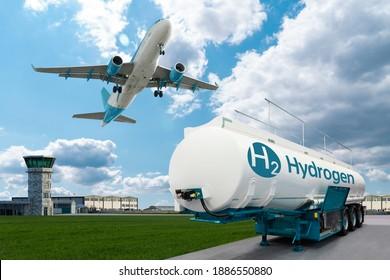 Flugzeug- und Wasserstofftankanhänger auf dem Hintergrund des Flughafens. Neue Energiequellen
