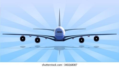 Airplane Illustration Blue Sky