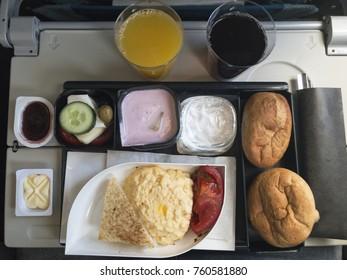 Airplane interior treat breakfast for economy service