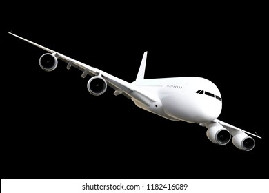 Airplane Isolated on Black Background