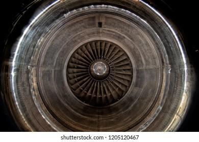 Airplane Jet gas turbine engine detail
