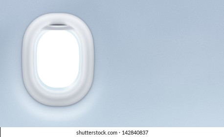 Airplane or jet window interior. Tourism design concept.
