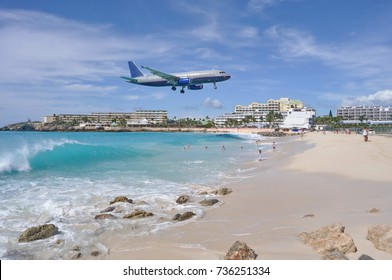 Airplane Landing above Maho Beach in St. Maarten Island