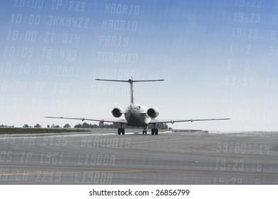 airplane landing at blue sky