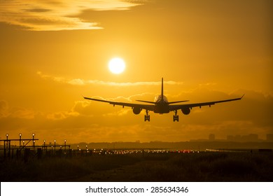 Airplane is landing during a Beautiful cloudy sunrise