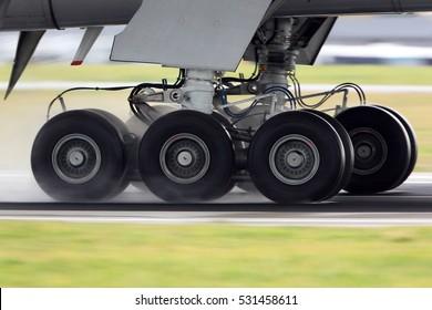 Airplane landing gear rolling on a wet runway.