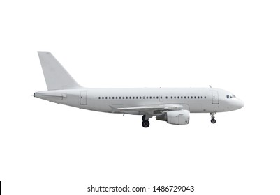Airplane with landing gear side view isolated on white background