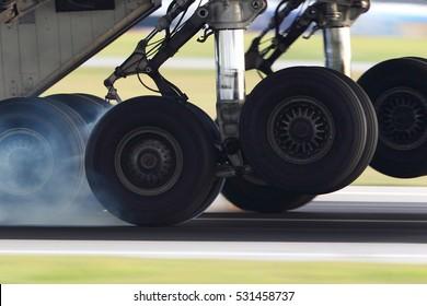 Airplane landing gear touching the runway with white smoke.
