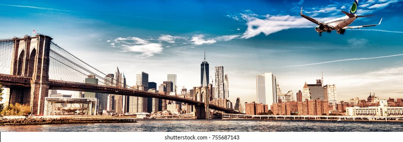 Airplane landing in New York City. Travel and tourism concept.
