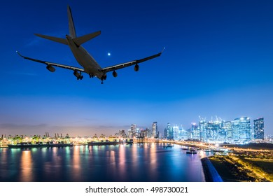 airplane landing in a night city