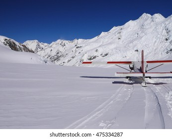 Airplane landing on Mount Cook Glacier