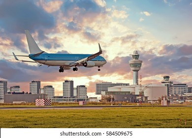 Airplane landing on Schiphol airport in Amsterdam in the Netherlands