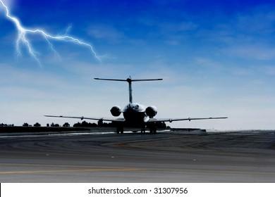 airplane landing on a stromy night