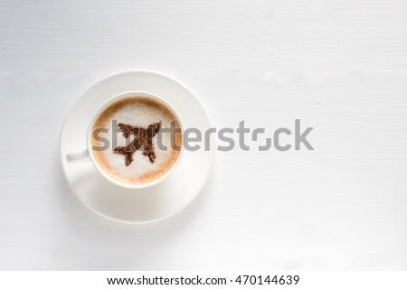 Airplane Made Cinnamon Coffee Cup Coffee Stock Photo Edit Now