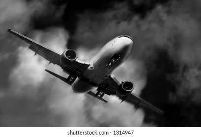Airplane in motion