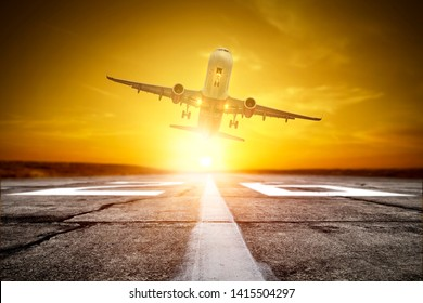 airplane on airport and summer sunset time. Free space for your decoration. Summer trip