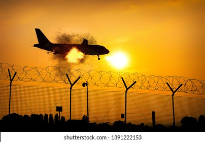 Airplane on fire in midair close to ground - digital manipulation.