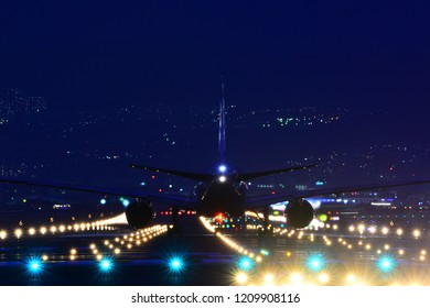 The airplane on the neon lights