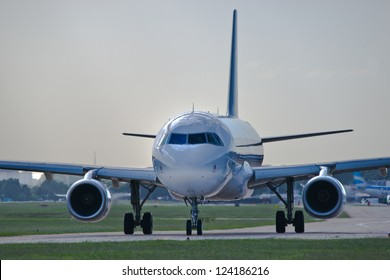 Airplane on the runway, wating for take off