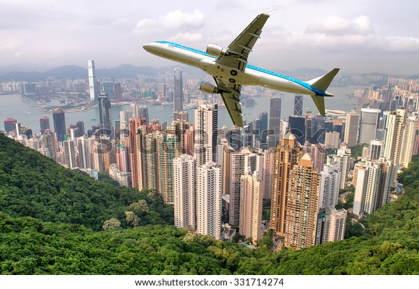 Airplane overflying Hong Kong.