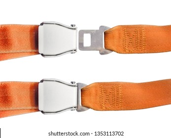 airplane passenger seat safety belt isolated on white background aircraft safety equipment orange buckle in closed and open state air travel life saving demonstration in danger crash event scene