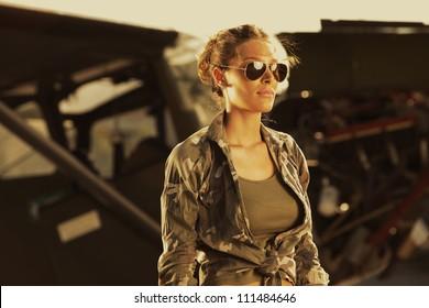 Airplane Pilot: fashion model with sunglasses