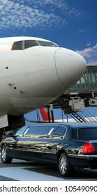 Airplane preparing for departure