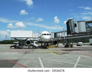 Airplane ready for boarding