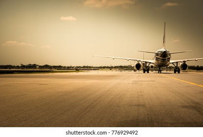 Airplane ready to take off from runway