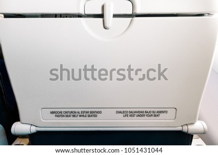 Airplane Seat Tray Instructions English Spanish Stock Photo Edit