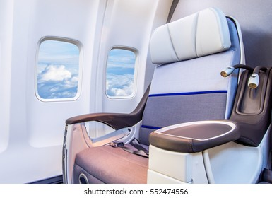 Airplane seats in the cabin business class