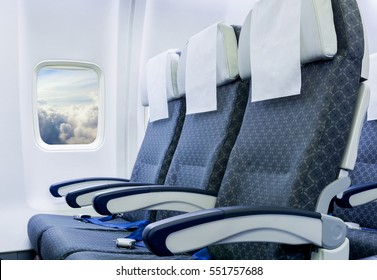 Airplane seats in the cabin economy class