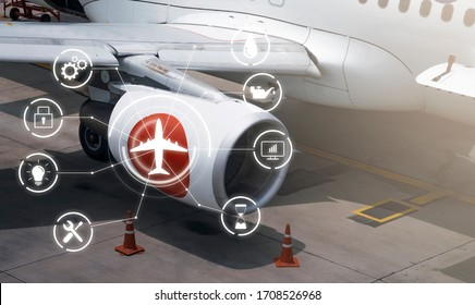 airplane side wing focus jet engine human engineering technology, plane on ground resetting refuel for next flight waiting for passengers to get on board, fixing repairing and checking exterior