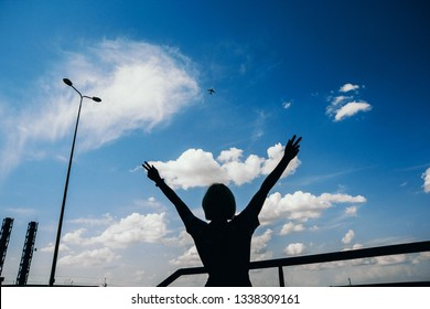 Airplane and silhouette woman on the sky background. Landscape of a city with a girl standing with arms raised and flying a passenger plane. Woman and landing a commercial plane at dusk. Lifestyle and
