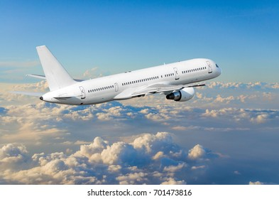 Airplane in the sky above the clouds flight journey sun height