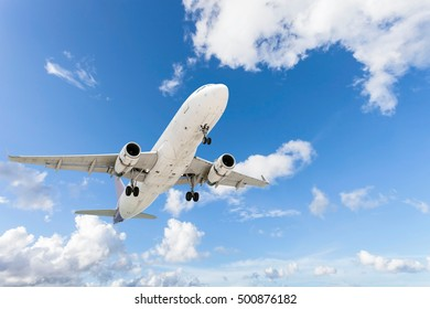 airplane in the sky background ,concept open season tour and travel