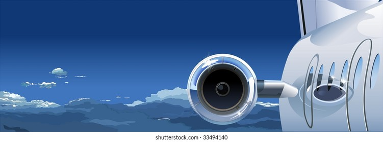 airplane in the Sky. Vector version see in my portfolio