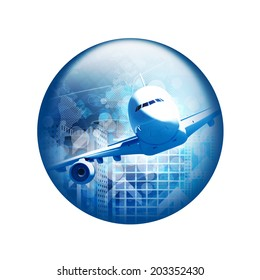 Airplane with skyscrapers. Spherical glossy button. Web element
