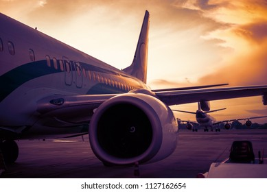 Airplane stop for support service and transfer passenger with silhouette time.
